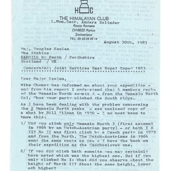 Kopie dopisu, který Červinkovi poslal uznávaný kronikář Anders Bolinder, tehdejší tajemník Švýcarského himálajského klubu, v němž se snaží určit, který ze dvou severních vrcholů Manáslu je vyšší. Bolinder zmiňuje, že problém konzultoval i s Čechy, kteří provedli prvovýstup na II. severní vrchol Manáslu v roce 1979  |   A copy sent to Jan Cervinka of a letter by respected chronicler Anders Bolinder, then-secretary of the Swiss Himalayan Club, trying to establish which of the two Manaslu North Peaks are higher. Bolinder mentions having also consulted with the Czechs who had made a first ascent of Manaslu North II in 1979